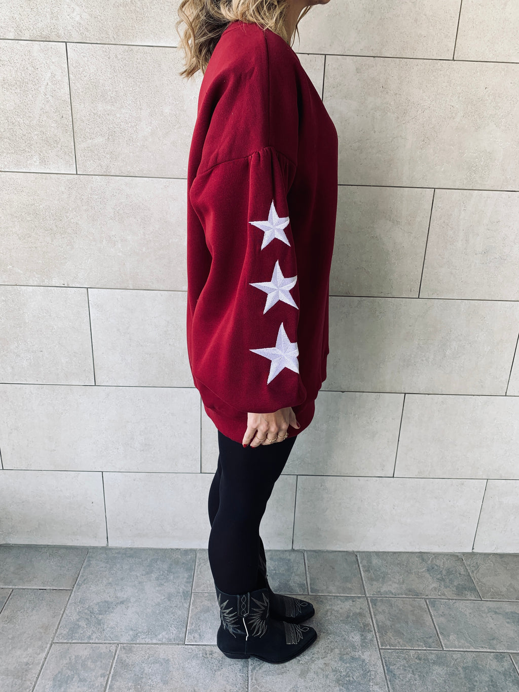 Burgundy Star Embroidered LongLine Sweatshirt