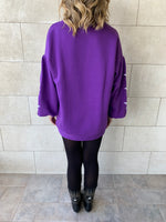 Purple Star Embroidered LongLine Sweatshirt