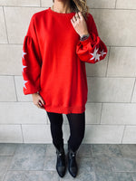 Red Star Embroidered LongLine Sweatshirt