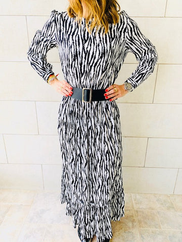 Zebra Print Tiered Dress