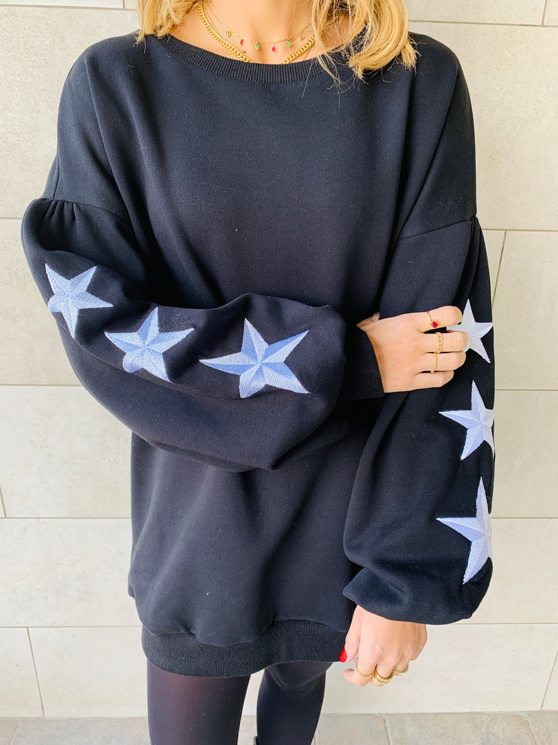 Black Star Embroidered LongLine Sweatshirt