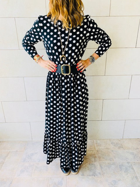 Black Polka Dot Tiered Dress