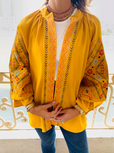 Mustard Sisley Embroidered Linen Jacket