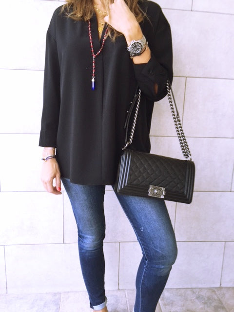 Black Criss Cross Back Shirt