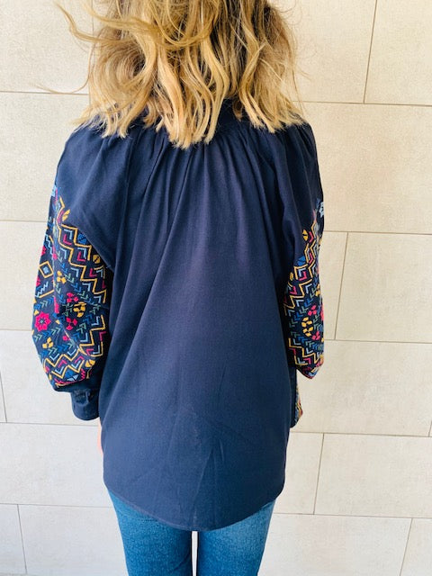 Navy Sisley Embroidered Linen Jacket