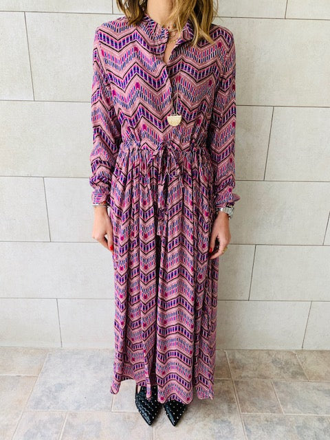 Purple Chevron Maxi Dress