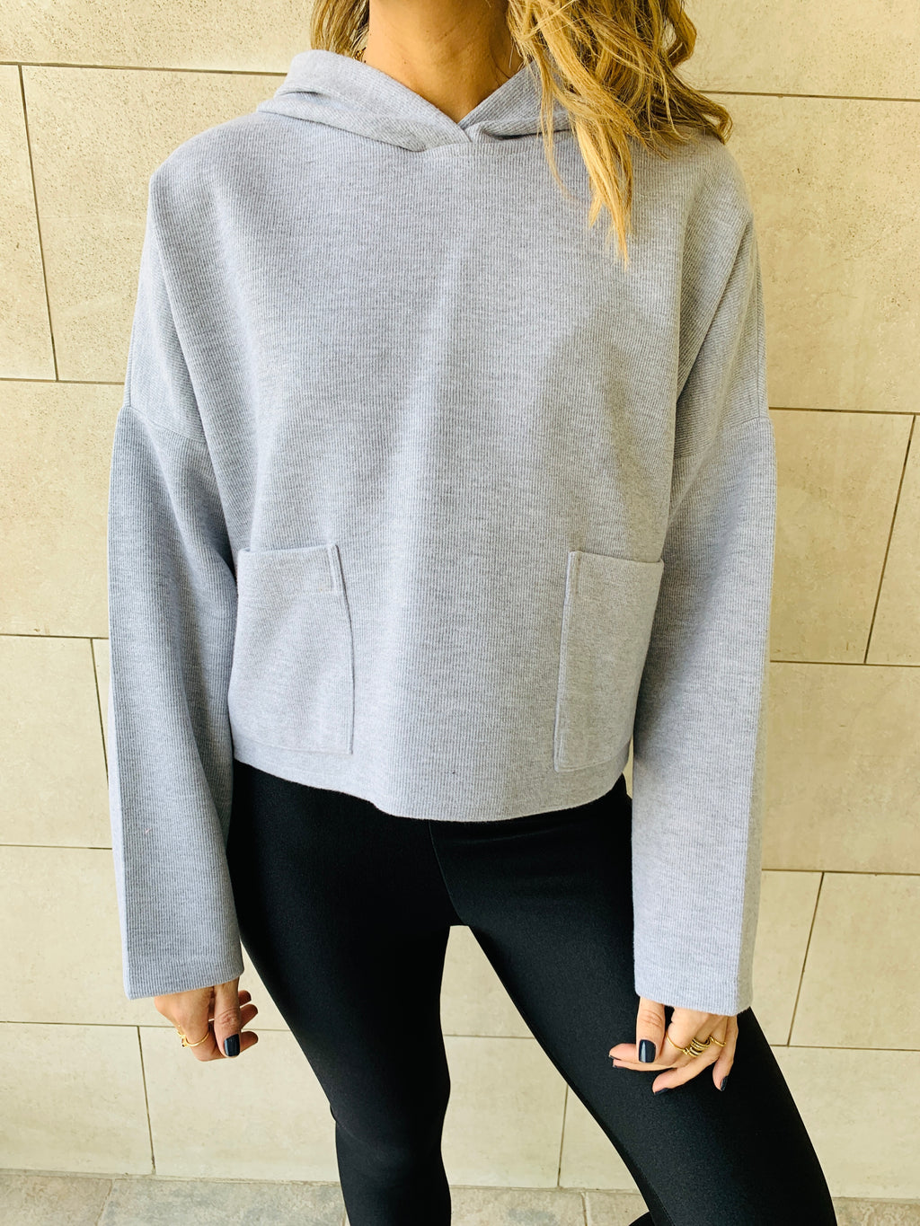Grey Cropped Downtown Knit Hoodie