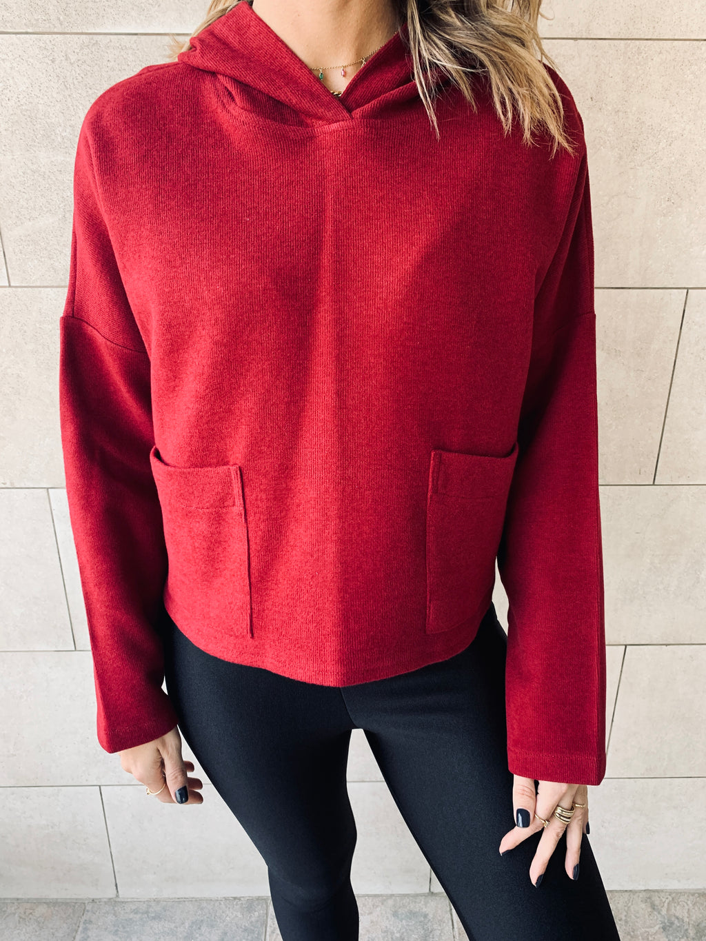 Burgundy Cropped Downtown Knit Hoodie