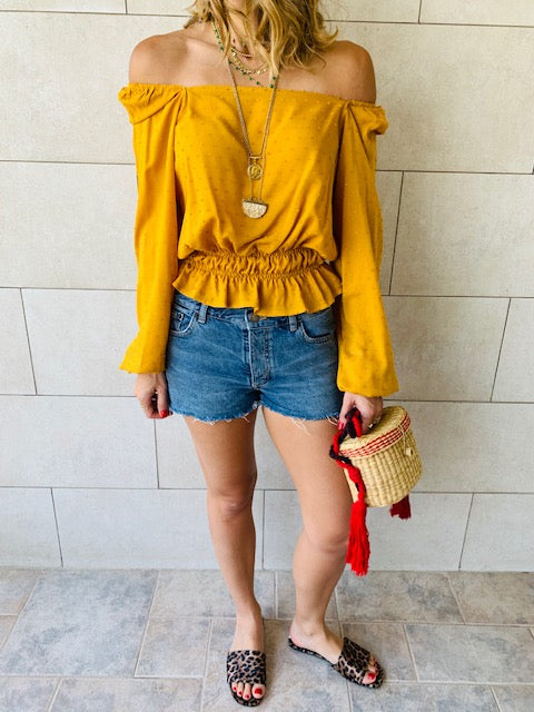 Mustard Summer Night Cropped Top