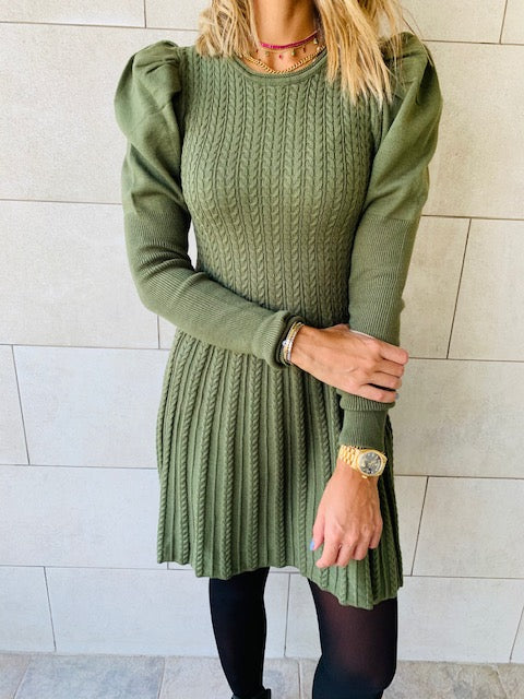 Olive Cable Swing Dress
