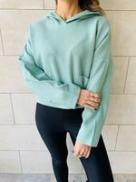 Mint Cropped Downtown Knit Hoodie