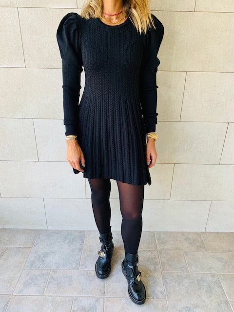 Black Cable Swing Dress