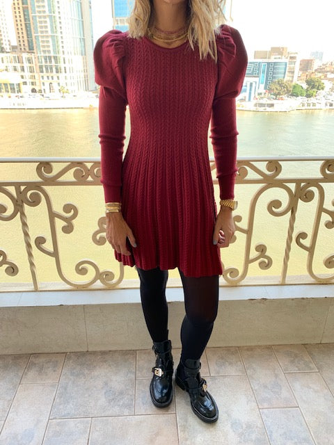 Burgundy Cable Swing Dress