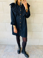 Black Ruffle Denim Shirt