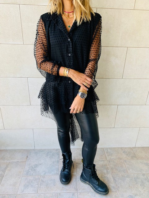 Polka Tulle High Low Shirt