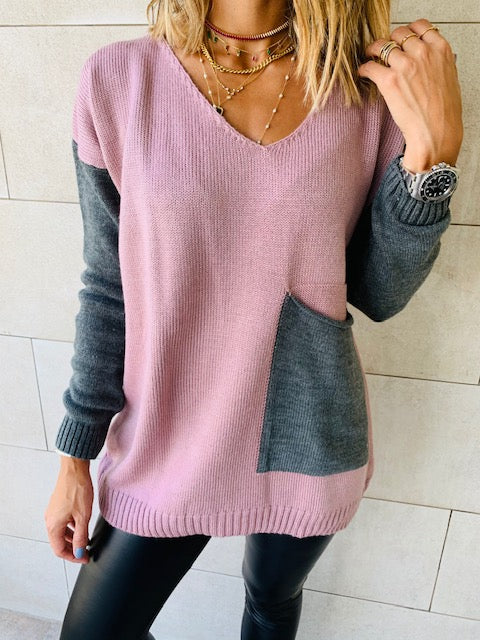 Rosie Grey Pocket Sweater
