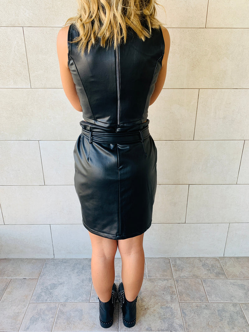 The Leather Skirt & Top Set