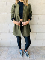 Olive Longline Waterproof Duster