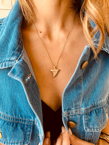 Gold Matte Shark Tooth Necklace