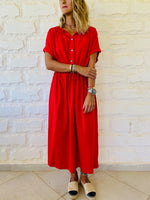 Red Drawstring City Dress