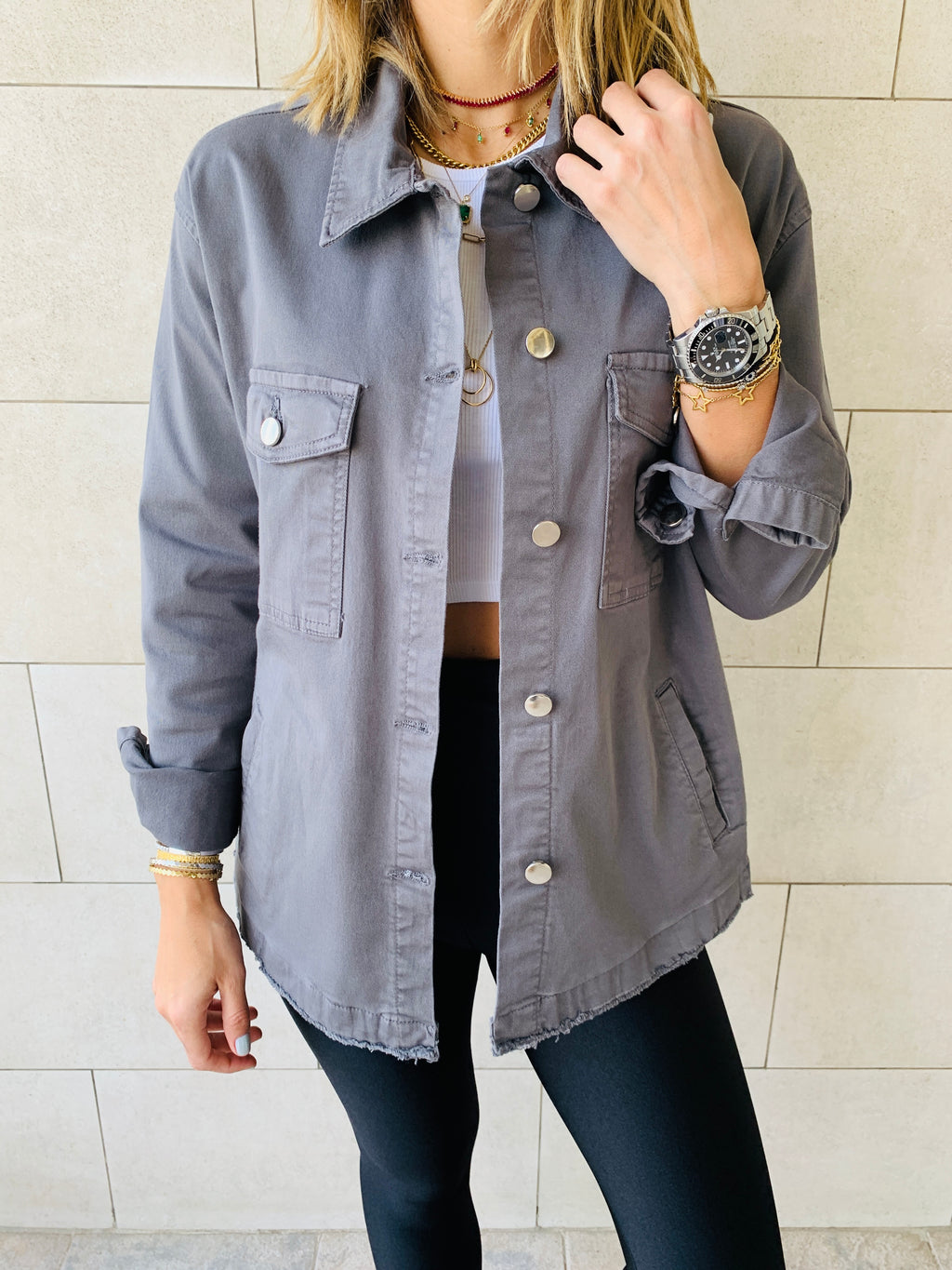 Grey Denim Overshirt Shacket