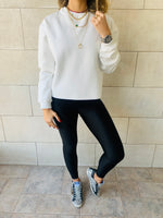 White Frayed Edgy Cropped Sweatshirt