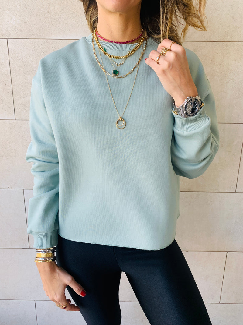 Sage Frayed Edgy Cropped Sweatshirt
