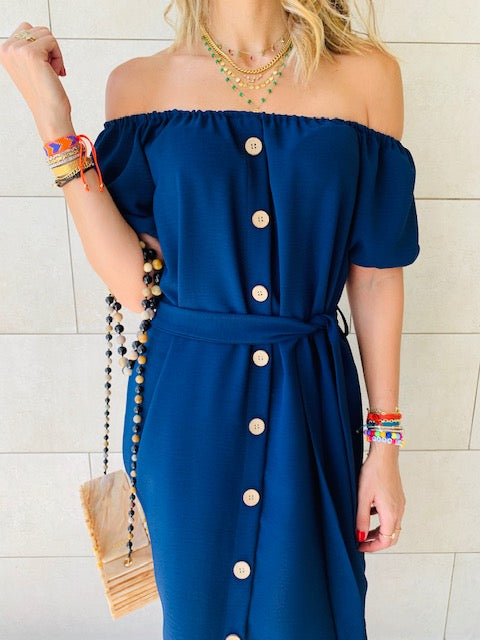 Navy Puff Bardot Dress