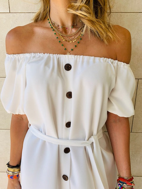 White Puff Bardot Dress