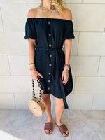 Black Puff Bardot Dress