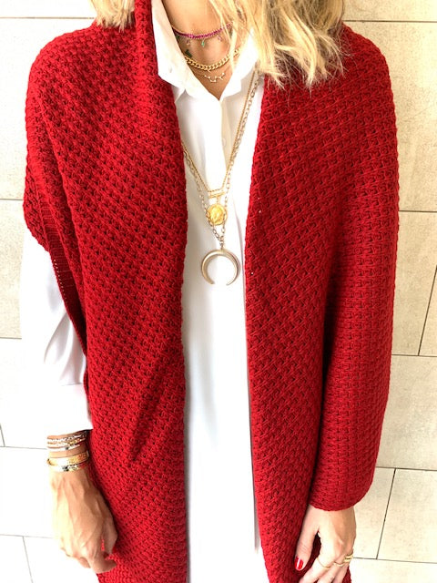 Red Shawl Knit Vest
