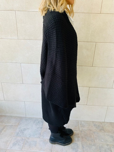 Black Shawl Knit Vest