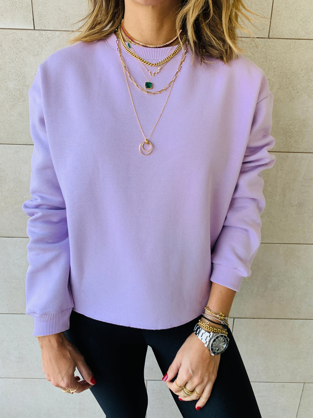 Orchid Frayed Edgy Cropped Sweatshirt