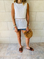 White Eyelet Broiderie Top
