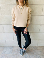Sand Frayed Edgy Cropped Sweatshirt