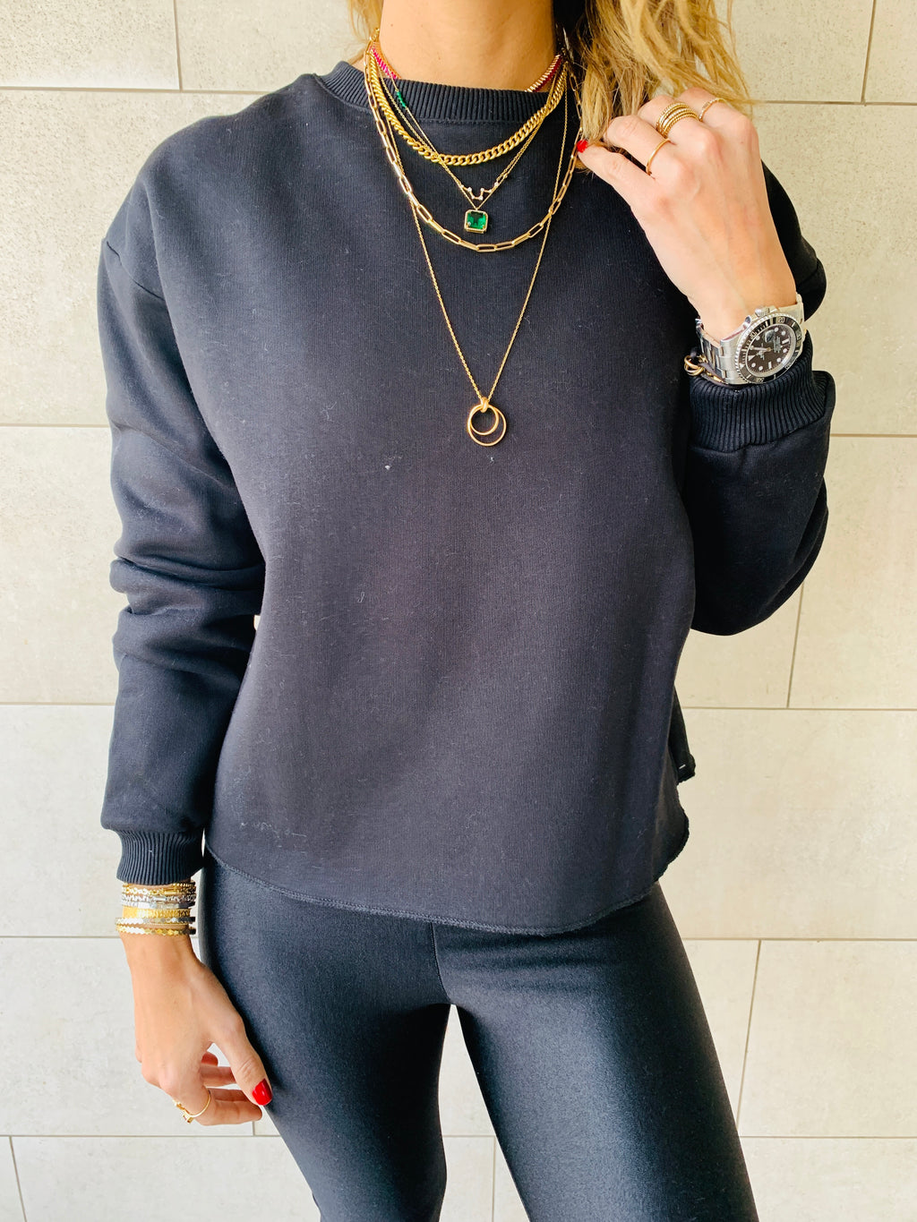 Black Frayed Edgy Cropped Sweatshirt