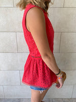 Red Eyelet Broiderie Top