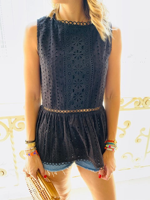 Black Eyelet Broiderie Top