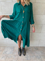 Green Aria Plisse Dress