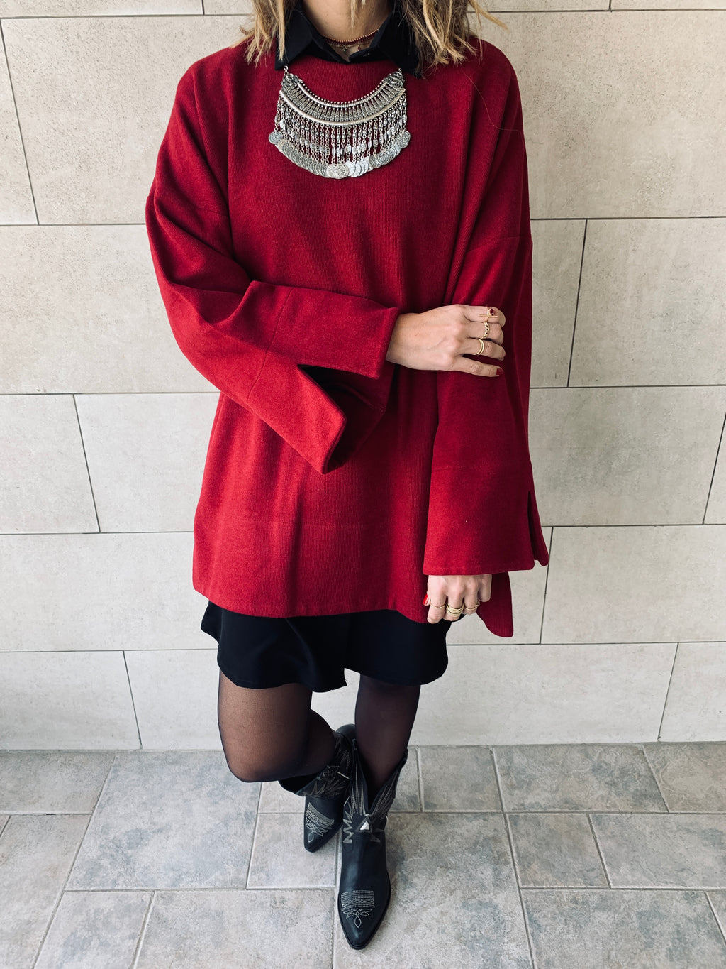 Burgundy Warm Me Up Knit Pullover