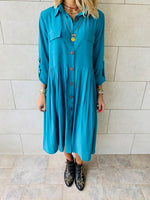 Turquoise Aria Plisse Dress