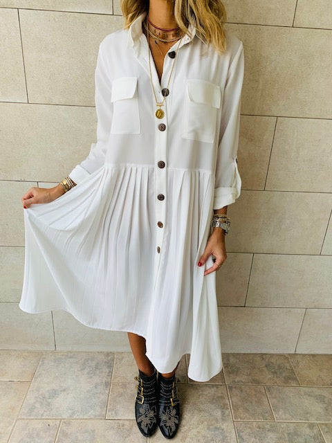White Aria Plisse Dress