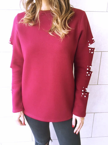 Burgundy Pearl Ripped Sweatshirt