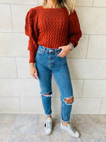 Rust Puffed Braid Pullover