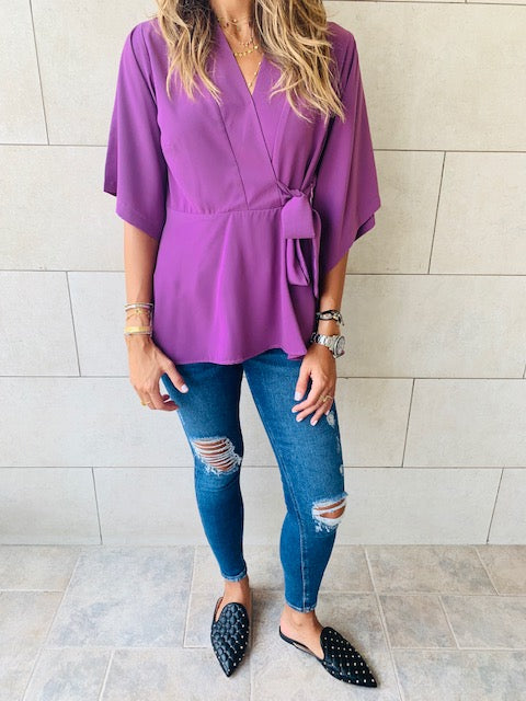 Lilac V Batwing Top