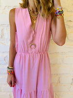 Rose Linen Rhodes Tiered Dress