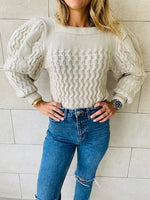 Beige Puffed Braid Pullover