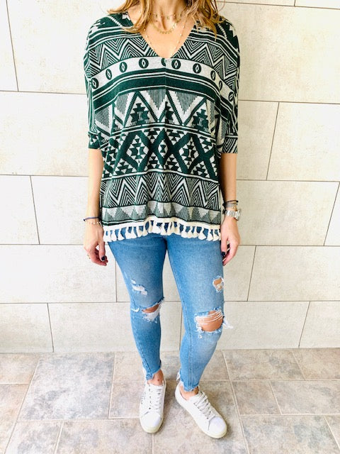 Green Aztec Knit Poncho