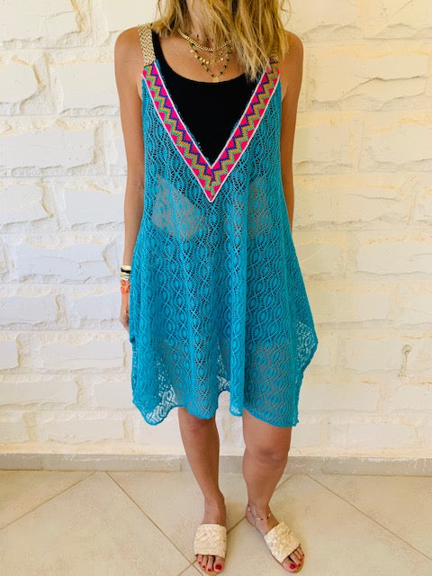 Turquoise Trim Swing Coverup