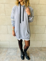 Grey Effortless Longline Hoodie